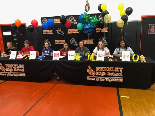 Fernley had seven students sign for college athletics Thursday.