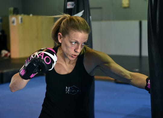 MMA fighter Jessica Locke works out at  Momentum Martial Arts where she is training to fight in the WFC: World Fighting Championships on May 31 at Greater Nevada Field.