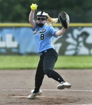 Bishop Kearney's Emily Phelan winds up a pitch against Greece Athena during a Class A1 sectional quarterfinal at Bishop Kearney High School, Friday, May 24, 2019. No. 2 seed Bishop Kearney advanced to the A1 semifinal with a 9-1 win over No. 7 seed Greece Athena.