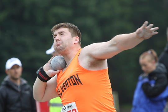 Silverton's Ben Willis competes in the 5A boys shot put during the OSAA 5A/6A State Track and Field Meet at Mt. Hood Community College on Friday, May 24.