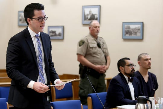 Braden Wolf, a deputy district attorney, gives the state's recommendation in sentencing for Andrew Ramsey, 25, of Salem, after pleading guilty to second degree intimidation after attacking a Sikh store manager by trying to pull off his turban, throwing a shoe at him and pushing him to the ground in January. He was sentenced to 180 days in jail, three-years probation and ordered to attend an annual Sikh festival and parade in South Salem next month. Photographed at the Marion County Courthouse in Salem on May 24, 2019.