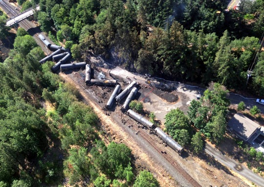 Scattered and burned oil tank cars after a train derailed and burned near Mosier, Oregon in 2016.