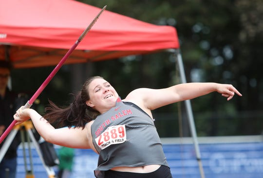 South Salem's Kaia Alexander competes in the 6A girls javelin during the OSAA 5A/6A State Track and Field Meet at Mt. Hood Community College on Friday, May 24.