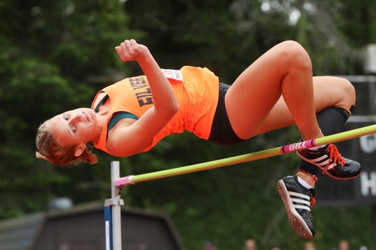 Silverton's Savannah Reilly competes in the 5A girls high jump during the OSAA 5A/6A State Track and Field Meet at Mt. Hood Community College on Friday, May 24.