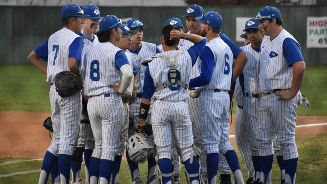 Lake View High School baseball has a meeting during a game in the 2019 season.