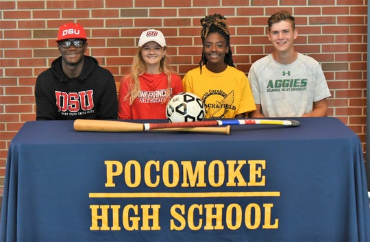 L-R: Pocomoke's Shawn Taylor, Cammie Mottley, Cedara Franklin and John Ring announced their intent to continue their athletic careers at the college level on Friday, May 24, 2019.