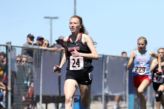 Krista Bickley of Brandon Valley cruises through her heat of the AA Girls 400 on Friday in Brandon Valley.