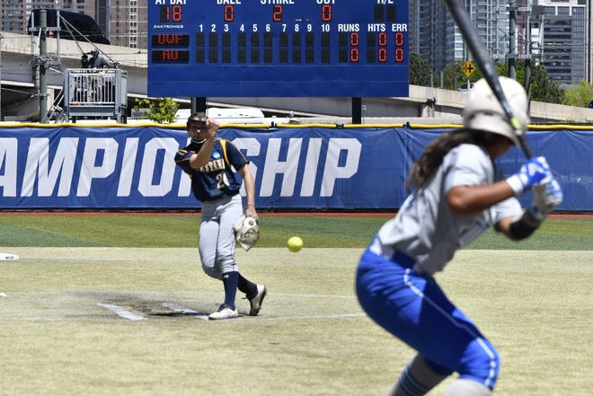 Ashley Mickschl delivers a pitch Friday from the D2 softball championships