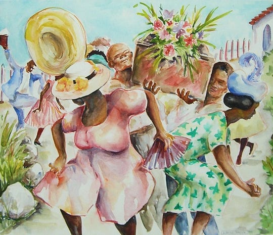 Marina Brown, Bahamian Funeral, watercolor, at Gadsden Arts.