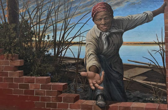 A mural depicting the image of abolitionist Harriet Tubman in Cambridge, Maryland was painted by noted artist Michael Rosato, a 1983 interior design graduate of Florida State University.