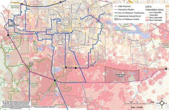 A Leon County-developed map, put together by Leon County Commissioner Kristin Dozier's office at the suggestion of Wakulla Springs Alliance Chairman Sean McGlynn, explores the environmental impact of a transmission line project if it were to utilize the gas line south of Tram Road.