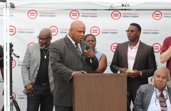Interim President and CEO of the Tallahassee Urban League Curtis Taylor speaking at the call to action news conference