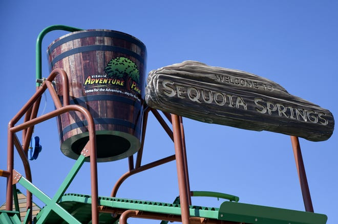 A 900-gallon bucket on top of the Sequoia Springs waterslide at Adventure Park in Visalia on Friday, May 24, 2019.