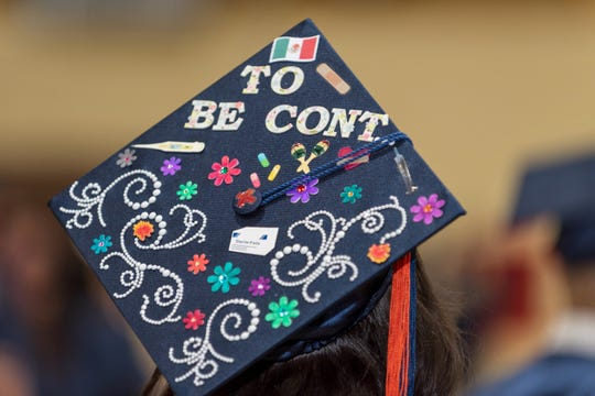 A cap at the College of the Sequoias 92nd Graduation and Commencement ceremony held May 23, 2019, at Mineral King Bowl in Visalia.