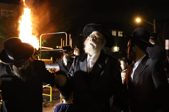 The Orthodox Jewish community celebrated Lag B'Omer with a bonfire on Wednesday in Monsey.
