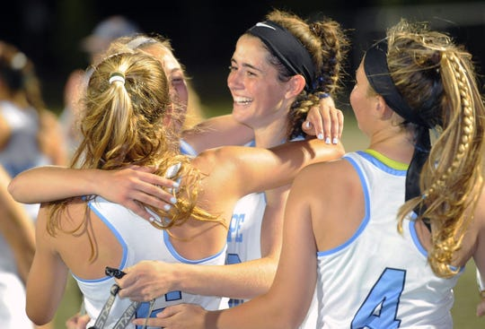 Cape Henlopen celebrates its 11th straight DIAA Girls Lacrosse Tournament title last spring. DIAA is still working on timelines and schedules for spring sports this year, hoping that schools are cleared to reopen on May 18.