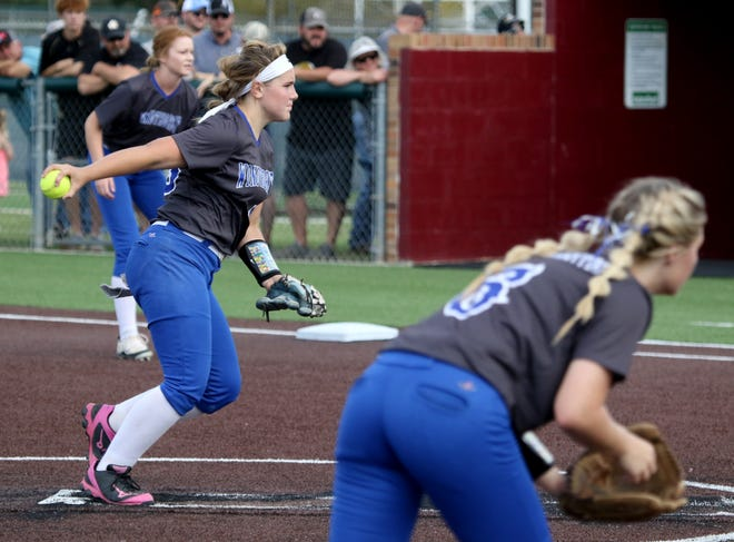 Windthorst's Laynie Brown pitches against Archer City Thursday, May 23, 2019, at Midwestern State University's Mustangs Park.