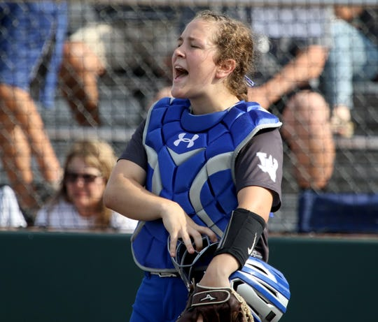 Windthorst's Abby Brown yells to her teammate in the playoff against Archer City Thursday, May 23, 2019, at Midwestern State University's Mustangs Park.