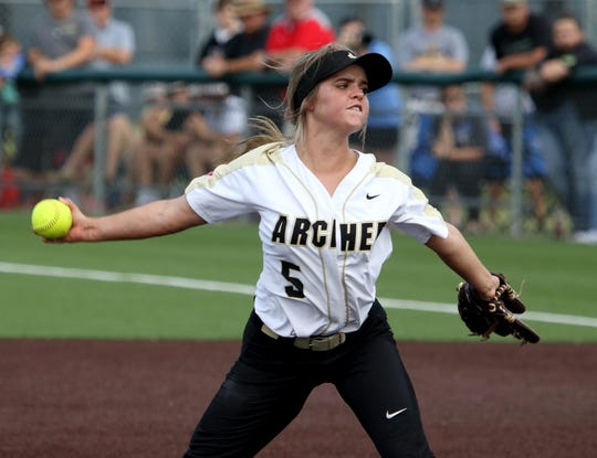 Archer City's Victoria Rater pitches against Windthorst Thursday, May 23, 2019, at Midwestern State University's Mustangs Park.