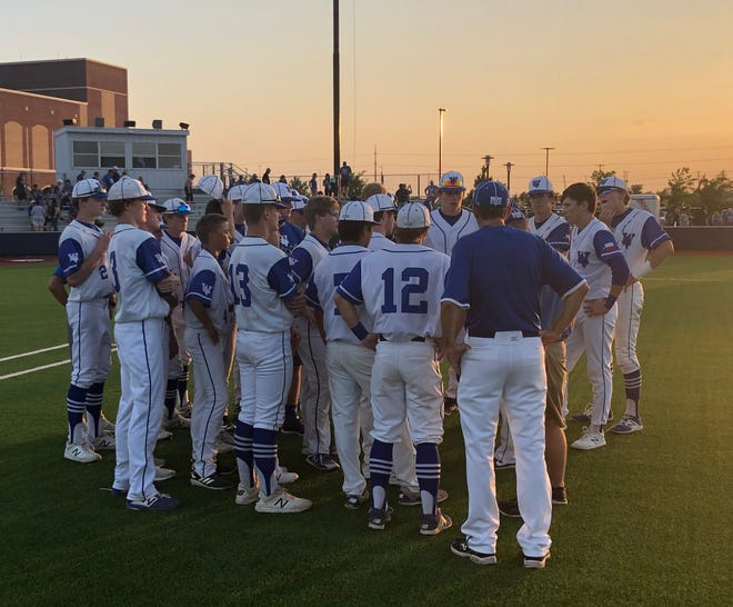 Windthorst players and coaches talk after the Game 2 loss to Bosqueville on Thursday.
