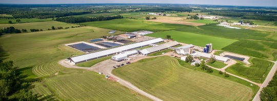 This aerial view shows the various facility expansions at Peterson's Dairy LLC.