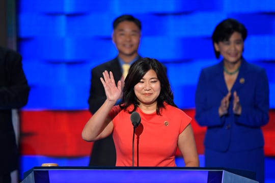 Rep. Grace Meng, D-NY, speaks as she stands with fellow Asian American and Pacific Island members of Congress, during the 2016 Democratic National Convention at Wells Fargo Center.