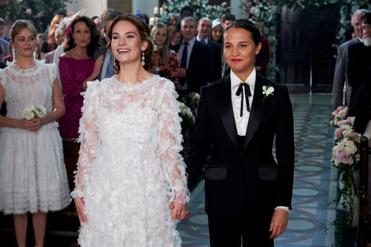 This time around, it was Miranda (Lily James, left) and Faith (Alicia Vikander) getting married.