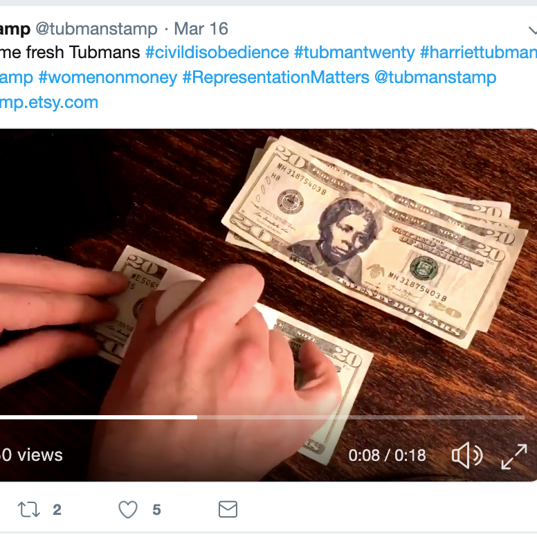 """A """"Harriet Tubman Stamp"""" aims to allow Americans to put Tubman's face on $20 bills in an act of """"civil disobedience,"""" despite the Trump administration's announcement this week that the official bill's redesign will be delayed."""