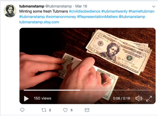 "A ""Harriet Tubman Stamp"" aims to allow Americans to put Tubman's face on $20 bills in an act of ""civil disobedience,"" despite the Trump administration's announcement this week that the official bill's redesign will be delayed."