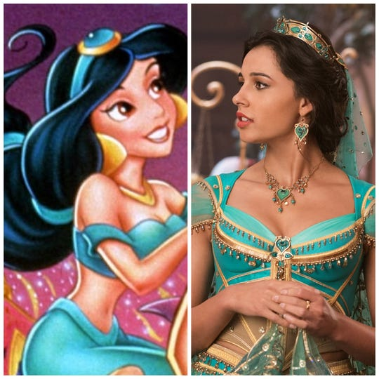 "In 1992, animated Jasmine showed her belly button. In the new live-action ""Aladdin,"" Jasmine (Naomi Scott) is more covered up in elaborate outfits."