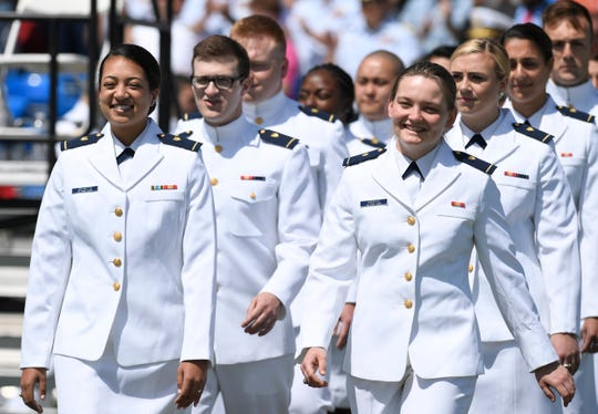 Coast Guard graduates at the commencement in New London, Connecticut, on May 22, 2019.