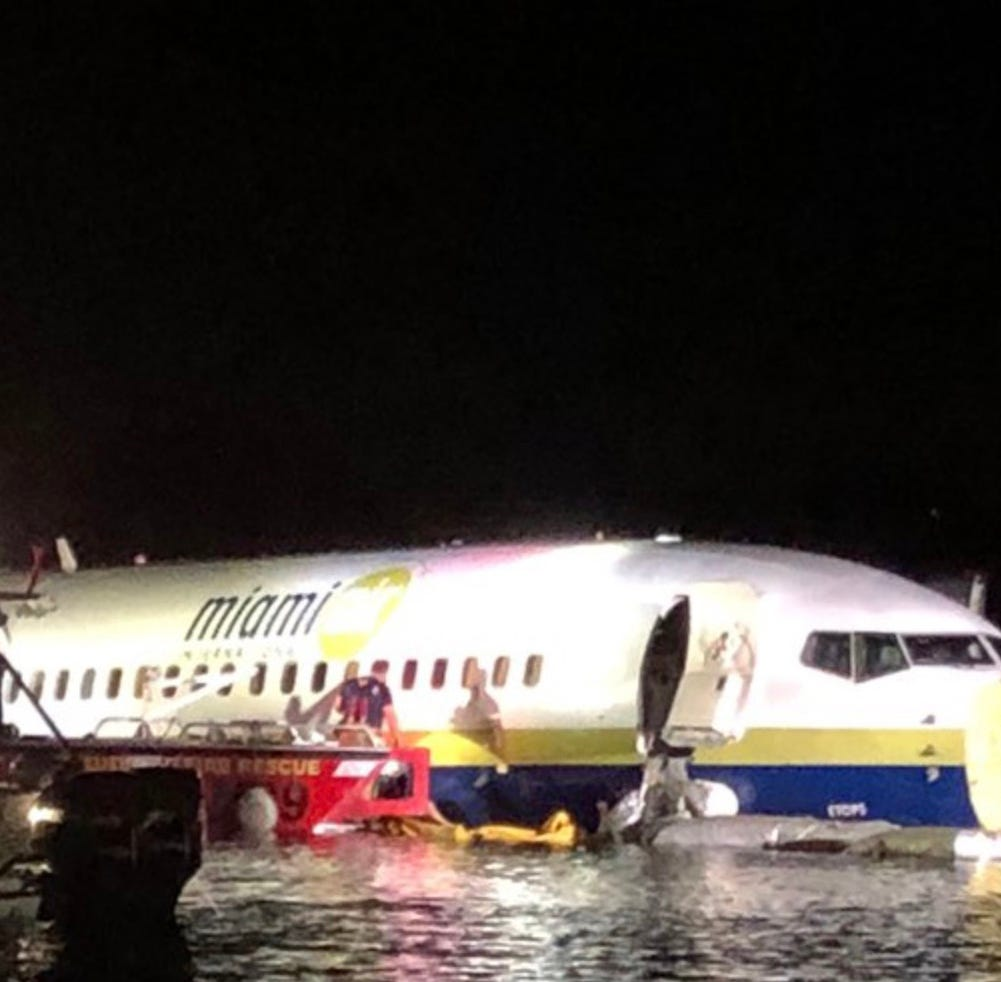 May 3, 2019; Jacksonville, FL, USA; May 3, 2019; Jacksonville, FL, USA; (Editor's Note: Alternate Crop of 20190503_gma_aps_252) Miami Air International flight 293 is pictured in the St. John's River after overrunning the runway at Jacksonville Naval Air Station. The flight originated from Naval Air Station Guantanamo Bay, Cuba. Mandatory Credit: Jacksonville SheriffÕs Office Handout Photo via USA TODAY ORIG FILE ID:  20190503_gma_so6_252a.jpg