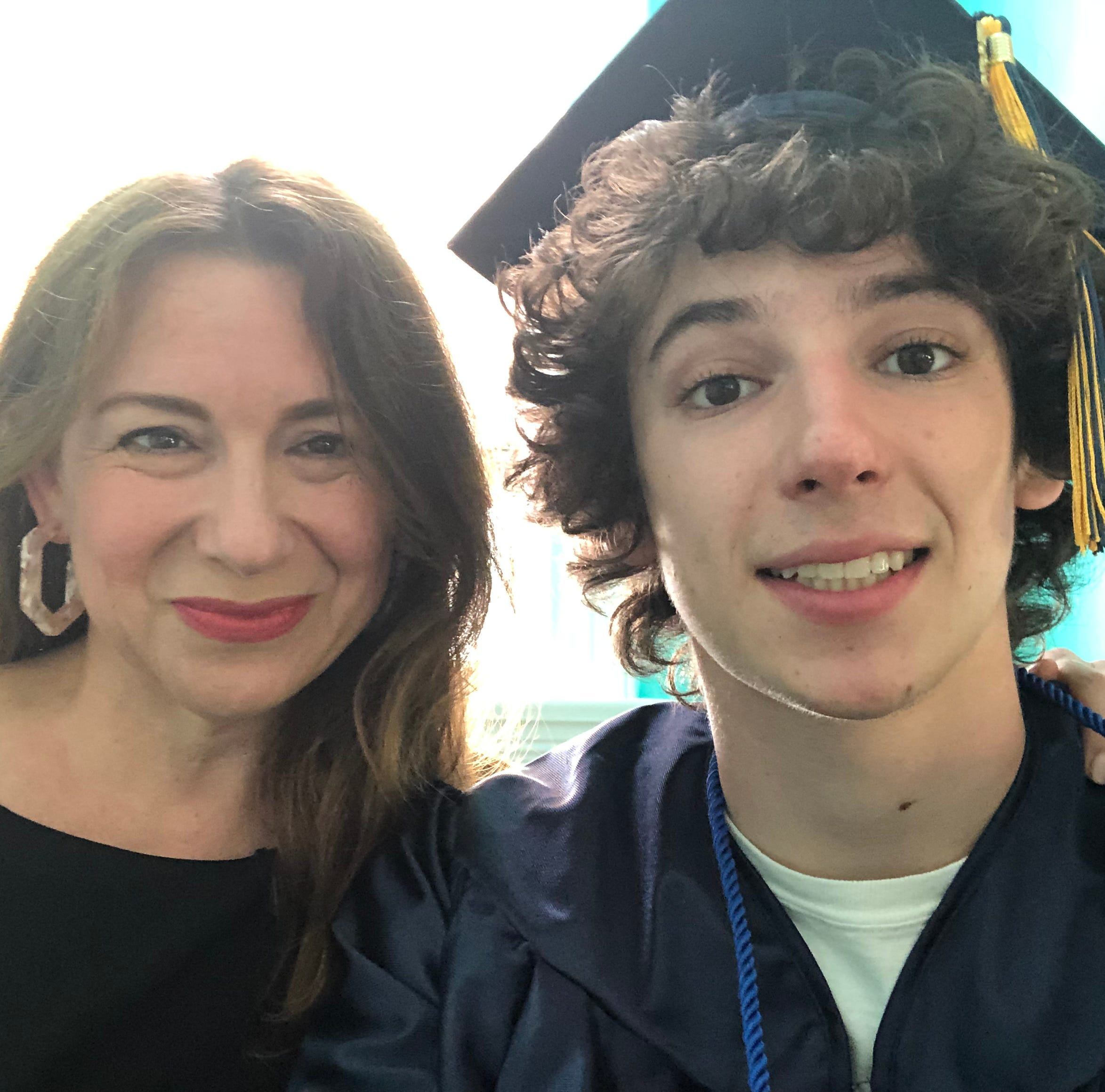 Laura Trujillo and her son Theo on graduation day.
