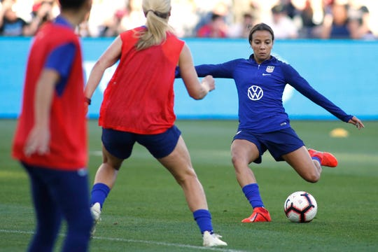 Mallory Pugh of the U.S. women's national team trains for the World Cup.