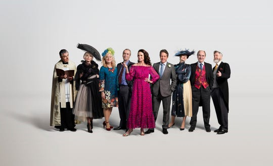 "The cast of ""One Red Nose Day and a Wedding"" (from left): Rowan Atkinson as Father Gerald, Kristin Scott Thomas as Fiona, Sophie Thompson as Lydia, John Hannah as Matthew, Andie MacDowell as Carrie, Hugh Grant as Charles, Anna Chancellor as Henrietta, David Haig as Bernard and James Fleet as Tom."