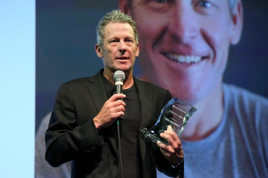 Lance Armstrong receives award at Babes for Boobs Live Auction Benefiting Susan G. Koman at El Rey Theatre on June 7, 2018 in Los Angeles, California.