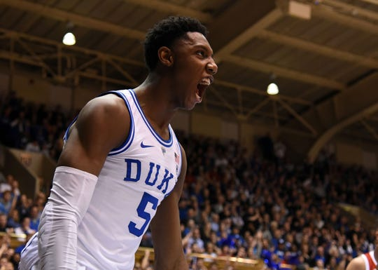 Feb 16, 2019; Durham, NC, USA; Duke Blue Devils forward R.J. Barrett (5) reacts after scoring during the second half against the North Carolina State Wolfpack at Cameron Indoor Stadium. The Blue Devils won 94-78. Mandatory Credit: Rob Kinnan-USA TODAY Sports