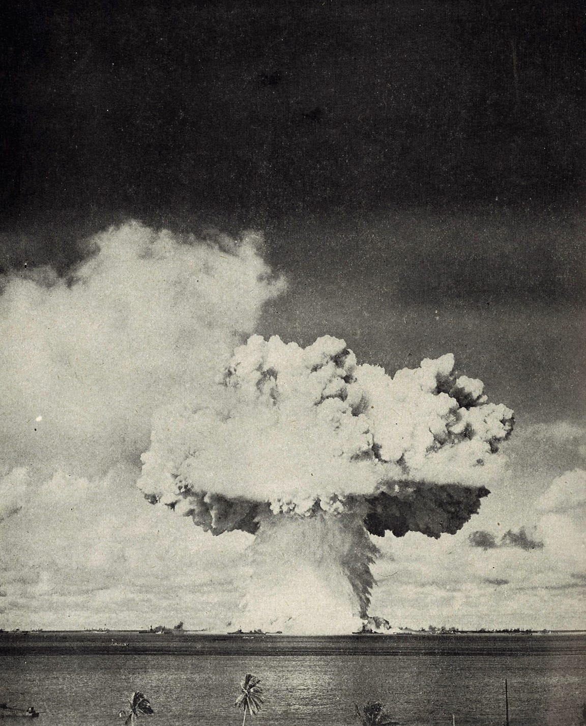 The descent of the water column back into the Bikini Atoll lagoon, estimated to be in the millions of tons, descends after the Baker detonation.