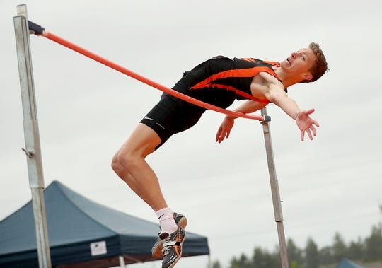 Central Kitsap's Seth Tower won the Class 4A boys high jump after clearing 6 feet, 6 inches.