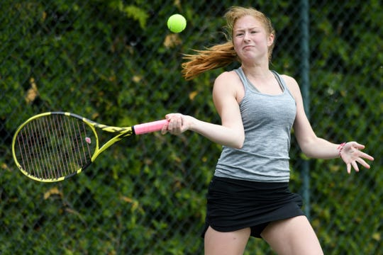 CVU's Sophie Dauerman hits the ball during the girls individual tennis finals at Burlington Tennis Club on Saturday May 25, 2019 in Burlington, Vermont.