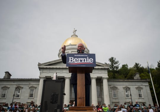 Presidential candidate Bernie Sanders addresses a crowd of about 1,500 supporters at a rally on the steps of the State house in Montpelier, Vt., on Saturday. May 25, 2019.