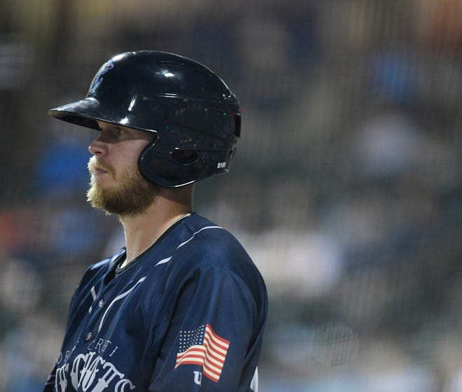 The Hooks' Seth Beer walks back to the dugout after striking out at the game against the Frisco Rough Riders, Friday, May 24, 2019, at Whataburger Field. The Rough Riders won, 7-2.
