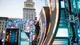 """Max Londberg, a reporter at The Enquirer, tests the """"American Ninja Warrior"""" course, before the show is filmed in downtown Cincinnati."""