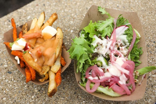 Harvest food truck's Lobster Poutine and their Humble Farmer Salad at Taste of Cincinnati.