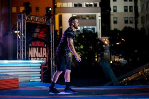 "Drew Lachey prepares to compete on ""American Ninja Warrior"" Friday, May 24, 2019 in downtown Cincinnati."