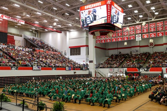 The interior of the Winfield Dunn Center at Austin Peay State University for the Northwest High School graduation on May 25, 2019.