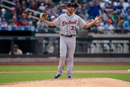Detroit Tigers pitcher Ryan Carpenter reacts to being called for a balk during the fourth inning against the New York Mets at Citi Field, Saturday, May 25, 2019.