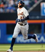 Detroit Tigers' JaCoby Jones rounds the bases on his second-inning two-run home run against the New York Mets, Friday, May 24, 2019, in New York.