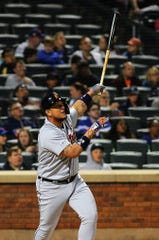 Miguel Cabrera hits a solo home run in the fifth inning.