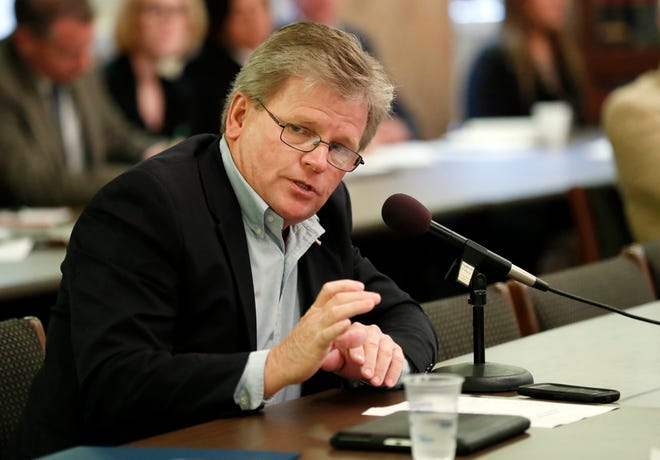 In a Tuesday, Dec. 19, 2017 file photo, Rep. Doug McLeod, R-Lucedale, questions a health care witness at a House Medicaid Committee hearing, at the Capitol in Jackson, Miss.